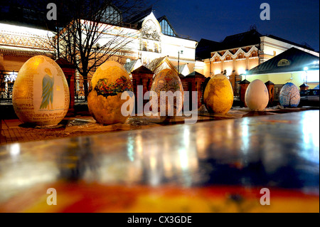 ITAR-TASS: MOSCOW, RUSSIA. APRIL 16, 2012. Big painted eggs appear in front of the State Tretyakov Gallery as part - Stock Photo