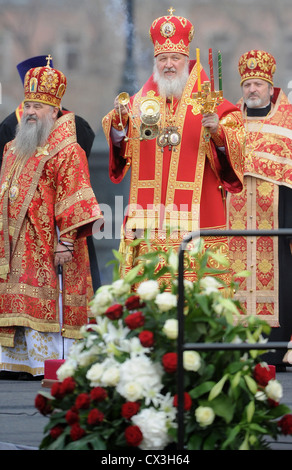 ITAR-TASS: MOSCOW, RUSSIA. APRIL 22, 2012. Patriarch Kirill of Moscow and All Russia (C) with other priests leading - Stock Photo
