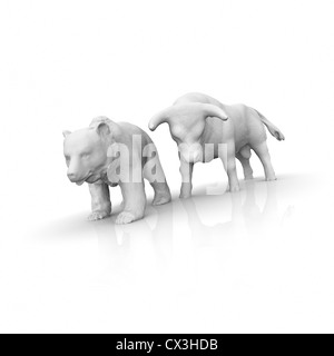 Börse, Bulle und Bär auf weissem Hintergrund - stock exchange, bull, bear - Stock Photo