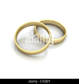 2 Ringe beieinander, Symbol für Fusion / Heirat - 2 rings, symbol for marriage / fusion Stock Photo