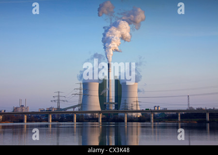 The Schkopau Power Station, a lignite-fuelled power plant near Korbetha, Schkopau, Saxony-Anhalt, Germany - Stock Photo