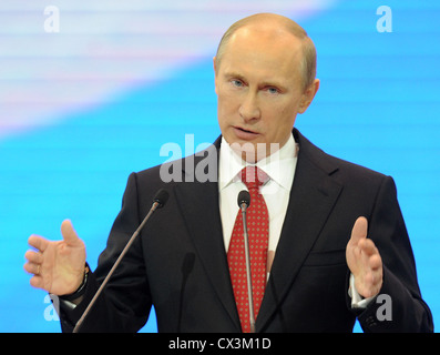 ITAR-TASS: MOSCOW, RUSSIA. MAY 26, 2012. Russia's president Vladimir Putin speaks at the 13th congress of the United - Stock Photo
