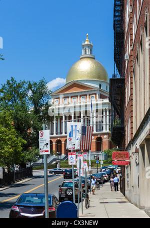 View down Park Street of the Massachusetts State House on Beacon Street, Boston, Massachusetts, USA - Stock Photo