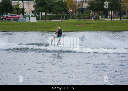 Wakeboard Demonstrations On The Lake - Stock Photo