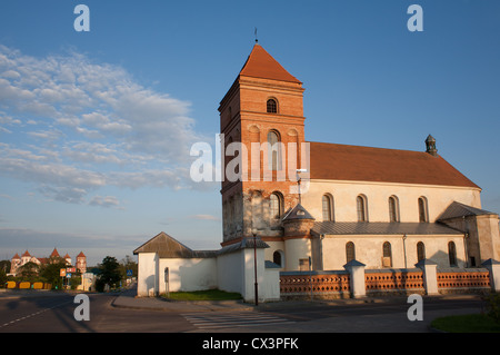 The Catholic Church Bishop of St. Nicholas and Mirsky Castle Complex in Mir, Karelichy raion, Hrodna Voblast, Belarus. - Stock Photo