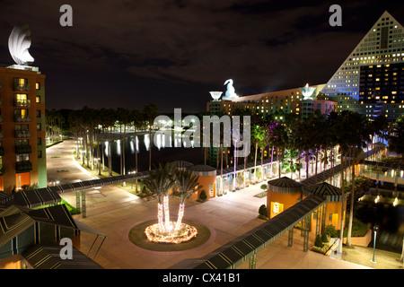 Swan and Dolphin hotel at night Disneyland Orlando Florida - Stock Photo