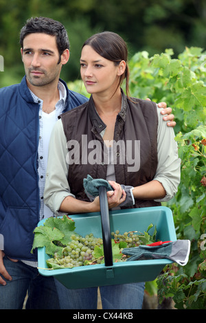 young couple working in a vineyard - Stock Photo