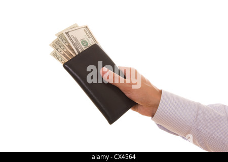 Man holding a wallet with a lot of american dollars - Stock Photo