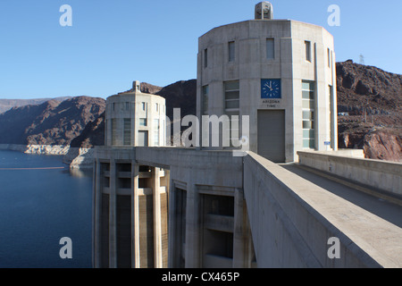 Hoover Dam also known as Boulder Dam is a concrete arch-gravity dam  in Black Canyon, Colorado River, between Arizona - Stock Photo