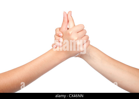 two hands teenager, holds his thumb up. Teamwork. Symbol for success. isolated on white background - Stock Photo