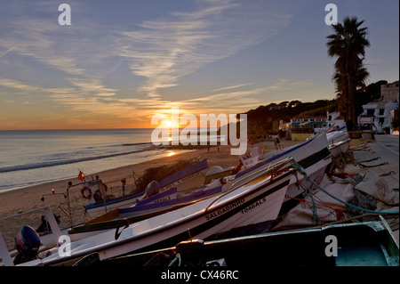 Portugal, the Algarve, Olhos d'Agua at sunset - Stock Photo
