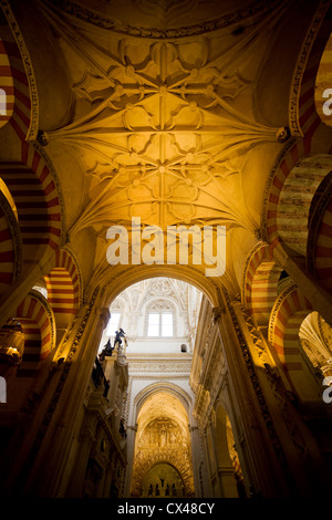 Mezquita Cathedral (The Great Mosque) ribbed vaulting historic interior architecture in Cordoba, Spain, Andalusia - Stock Photo