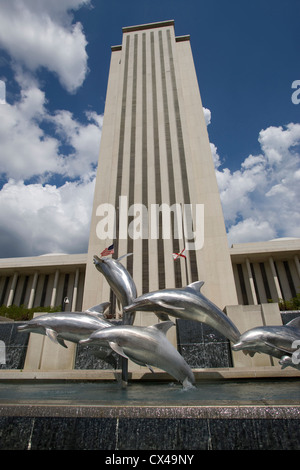 STORMSONG DOLPHIN SCULPTURE WALKER FOUNTAIN NEW STATE CAPITOL BUILDING TALLAHASSEE FLORIDA USA - Stock Photo