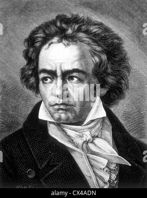 Ludwig van Beethoven, German Composer, Engraving - Stock Photo