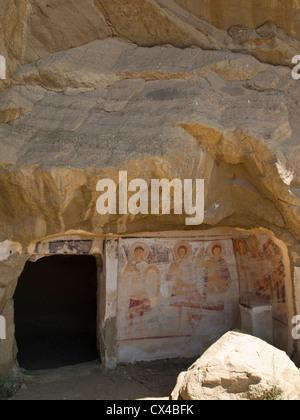 Udabno cave monastery part of Davit Gareja, entrance to one cave - Stock Photo