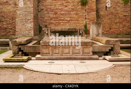 Architectural antique ancient brick rock monument Italian - Stock Photo
