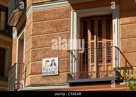 Historic buildings with lace fronts of city Madrid - Stock Photo