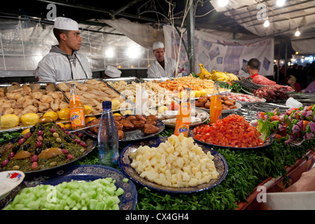 Food stalls at the Jamaa el Fna market Marrakesh, Morocco, April 1,2012 - Stock Photo