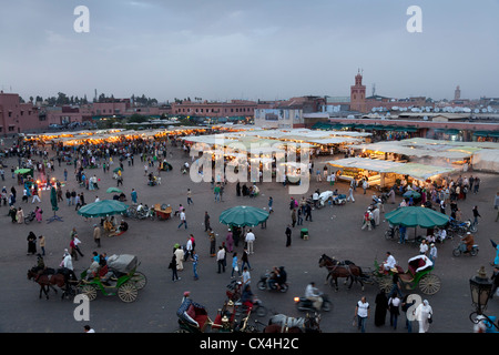 Food stalls at the Jamaa el Fna market Marrakesh, Morocco, April 1,2012 in early evening - Stock Photo