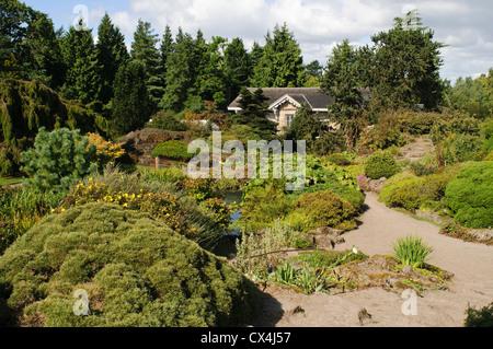 Royal Botanic Garden Edinburgh, Rock Garden and The Caledonian Hall. - Stock Photo