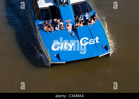 CityCat catamaran ferry on the Brisbane River. Brisbane, Queensland, Australia - Stock Photo