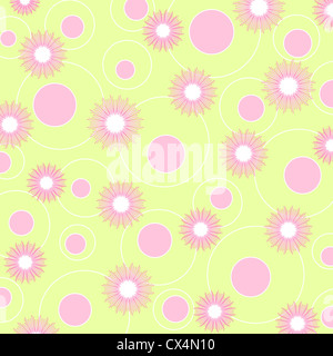 Seamless floral and circle pattern - Stock Photo