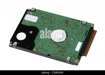 Closeup of computer hard drive. Isolated on white. - Stock Photo