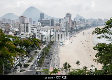 Cloudy skies over Rio de Janeiro, Brazil in the Leblon and Ipanema beach neighborhoods of the city - Stock Photo