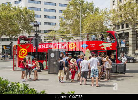 Open top tourist bus in Barcelona, Spain - Stock Photo