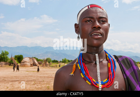 Arbore Tribe Ethiopia Africa Erbore tribal village Lower Omo Valley young boy in dress and jewelry #27 - Stock Photo