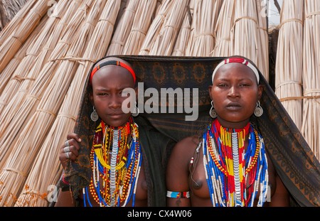 Arbore Tribe Ethiopia Africa Erbore tribal village Lower Omo Valley young girls with colorful dress #27 - Stock Photo