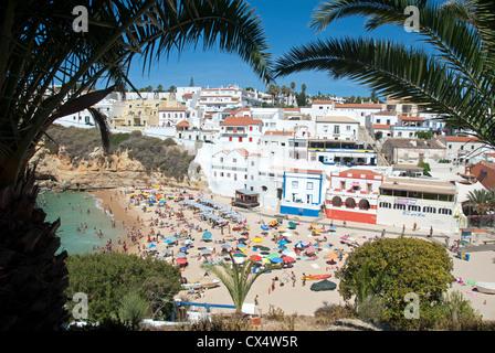 ALGARVE, PORTUGAL. A view of Praia do Carvoeiro town and beach. 2012. - Stock Photo