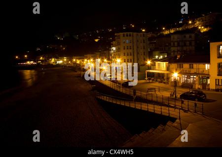 Ventnor Esplanade at night. - Stock Photo