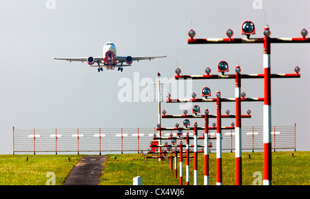 Airplane, Air Berlin Airbus,  is taking off from a runway at Düsseldorf International Airport, Germany, Europe. - Stock Photo