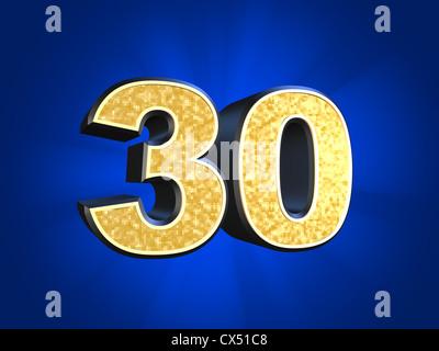 Golden number - 30 - Stock Photo