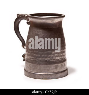 Pewter beer tankard isolated on a white studio background. - Stock Photo