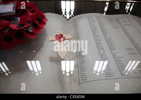 Book Of remembrance for WWI Riflemen in Winchester Cathedral - Hampshire UK - Stock Photo