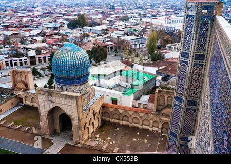 Samarkand. Overview from top of minaret of Bibi Khanym Mosque, Uzbekistan, Central Asia - Stock Photo
