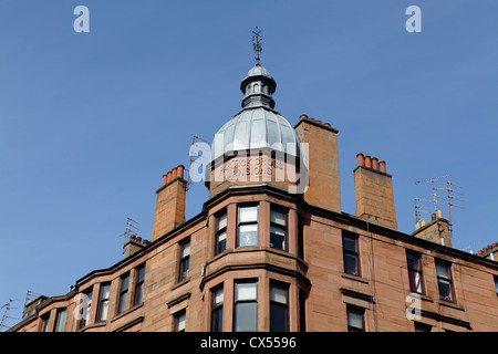 Detail of Partick Cross Mansions tenement housing in the West End of Glasgow, Scotland, UK - Stock Photo