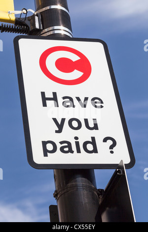Congestion charge sign, London, England - Stock Photo
