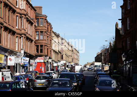 View looking North along Byres Road from Partick Cross in the West End of Glasgow, Scotland, UK - Stock Photo
