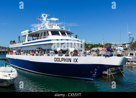 Whale watching cruise boat 'Dolphin IX' in the harbour in Provincetown, Cape Cod, Massachusetts, USA - Stock Photo