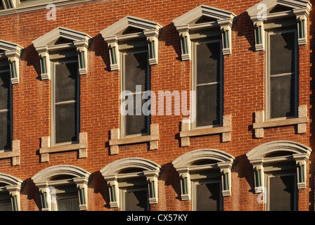 Close-up of windows at historic Plaza Hotel in Las Vegas, New Mexico, USA - Stock Photo