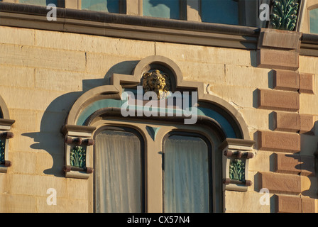 Details of window at historic Ilfeld building, part of Plaza Hotel in Las Vegas, New Mexico, USA - Stock Photo