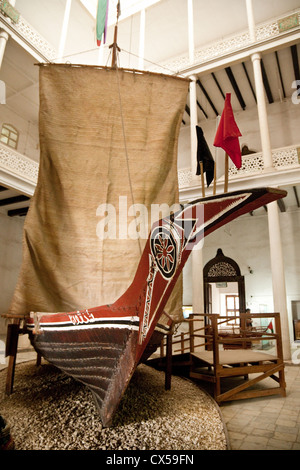 An ancient dhow in the House of Wonders, now the national Museum, Stone Town Zanzibar africa - Stock Photo