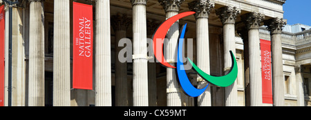 Paralympic logo mounted on the columns of the National Gallery in Trafalgar Square London England UK - Stock Photo