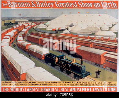 Barnum and Bailey Greatest Show on Earth, Poster, The Arrival of Our Four Trains or Seventy Long Railway Cars - Stock Photo