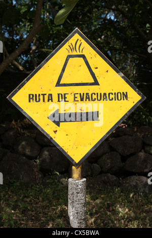 Evacuation notice Ometepe Island Nicaragua. Conception Volcano is constantly erupting. The last major scare was - Stock Photo