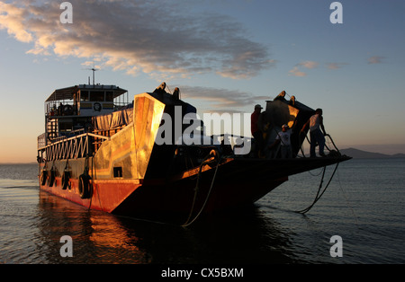Che Guevara car ferry arrives at Moyogalpa, Ometepe Island Nicaragua. The worlds largest volcanic island inside - Stock Photo