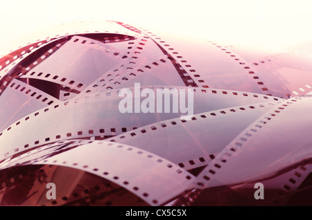 Pile of negative film. Image concept of old technology. - Stock Photo
